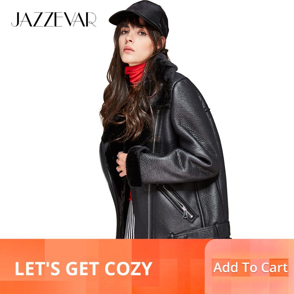 Jazzevar 2019 새로운 가을 겨울 높은 패션 거리 여성 pu 가죽 자 켓 캐주얼 따뜻한 지퍼 자 켓 모방 모피 outwear-에서가죽 & 스웨드부터 여성 의류 의  그룹 1
