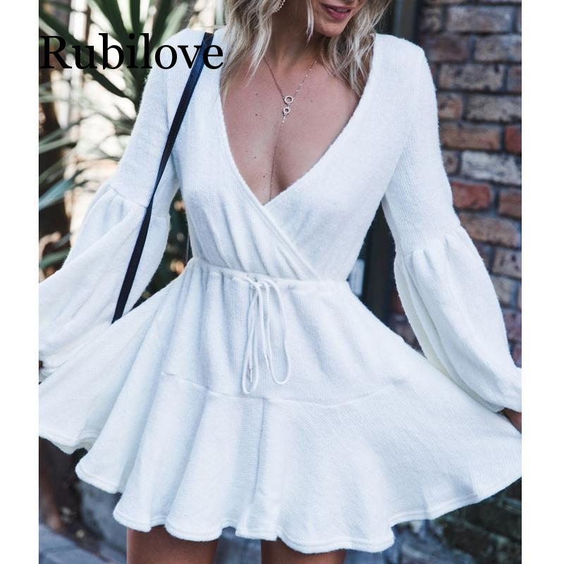 Rubilove New Women V Neck Ruffle Knitted Sweater Dress Autumn Winter Lace Up Short Dresses Casual Long Sleeve Solid A Line Dress in Dresses from Women 39 s Clothing