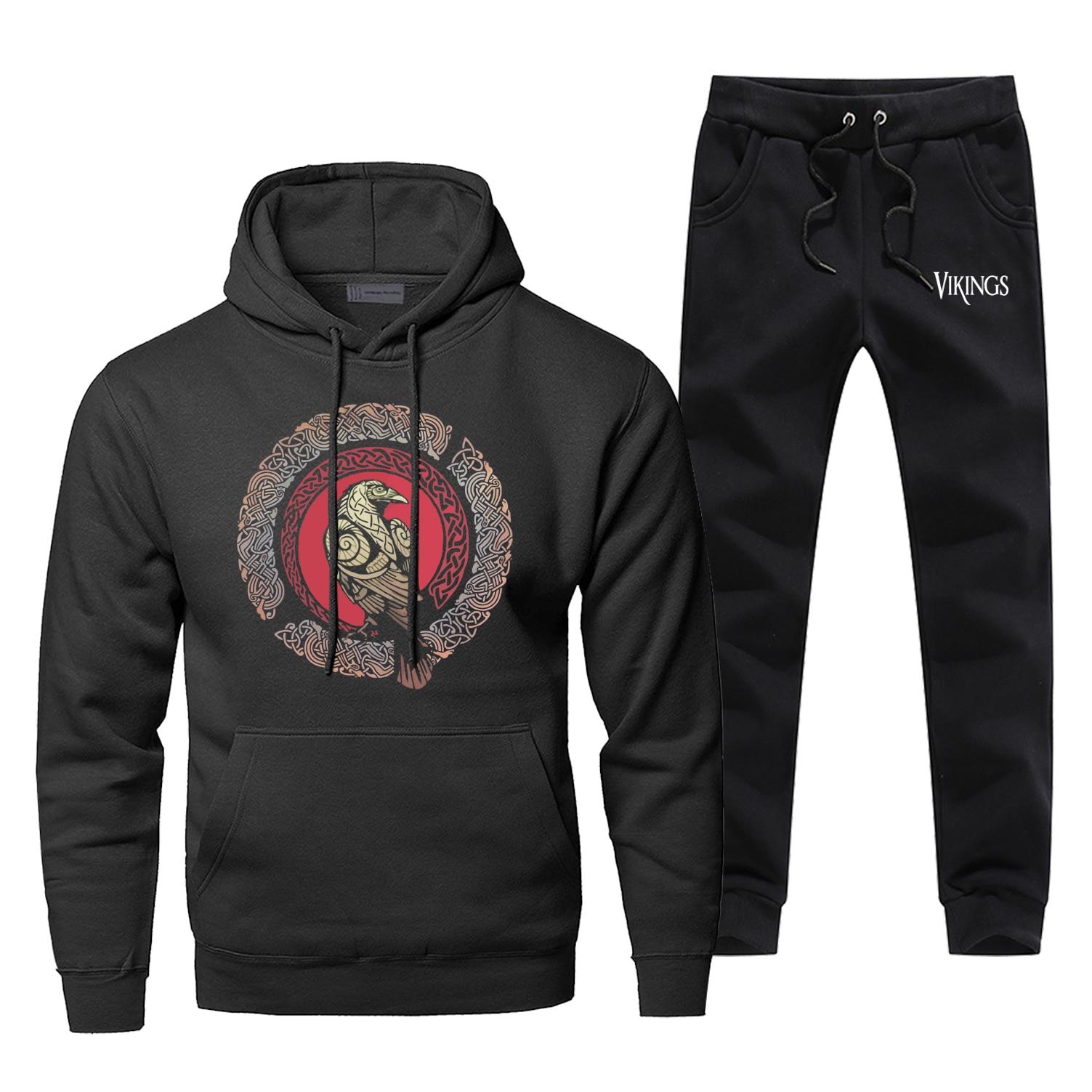 Odin Vikings Hoodie Pants Set Men Sweatshirt Male Hoodies Sweatshirts Mens Sets Two Piece Pant Scandinavian Runes Valhalla Coat