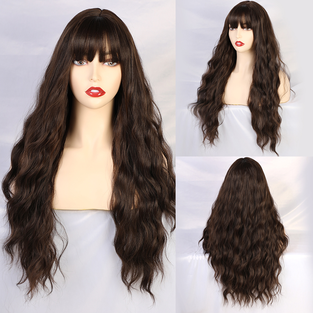 Blonde Unicorn Long Wavy Wigs For Black Women African American Synthetic Hair Grey Brown Wigs With Bangs Heat Resistant Wig