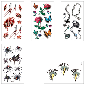 Waterproof Fake Temporary Tattoos Water Transfer Stickers 3D Scars Rose Necklace Spider Boy Girl Beautiful Body Art X412-416 image