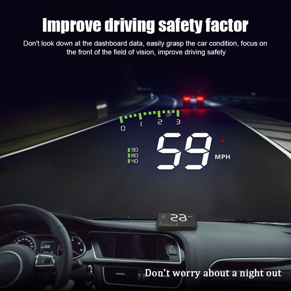A900 Car HUD OBD RPM Meter Head-Up Display Car Accessories Multi-Display Car Digital Speed Engine RPM Water Temperature