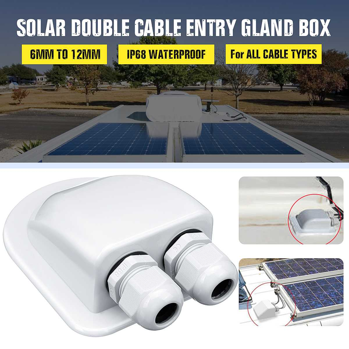 6 to 12mm Waterproof ABS Solar Double Twin Two Holes Cable Entry Gland <font><b>Box</b></font> Curved Cable Connector Holder For <font><b>Rv</b></font> Campervan Boat image