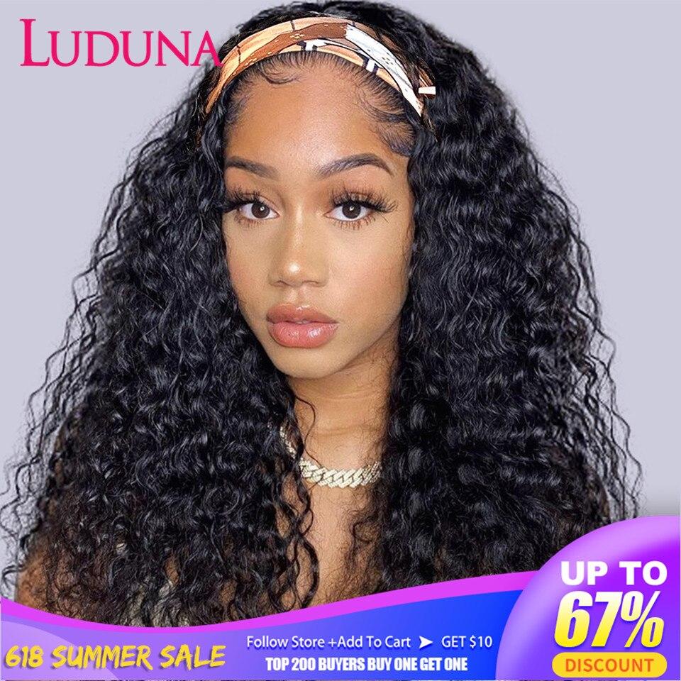Luduna глубокая волна парик с головной повязкой парики из натуральных волос для Для женщин бразильские волосы парик с головной повязкой натур...