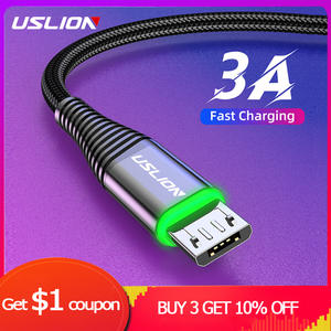 USLION 3A Micro USB Cable 0.5m1m2m Data Sync Fast Charging Wire For Samsung Huawei Xiaomi Note Tablet Android USB Phone Cables