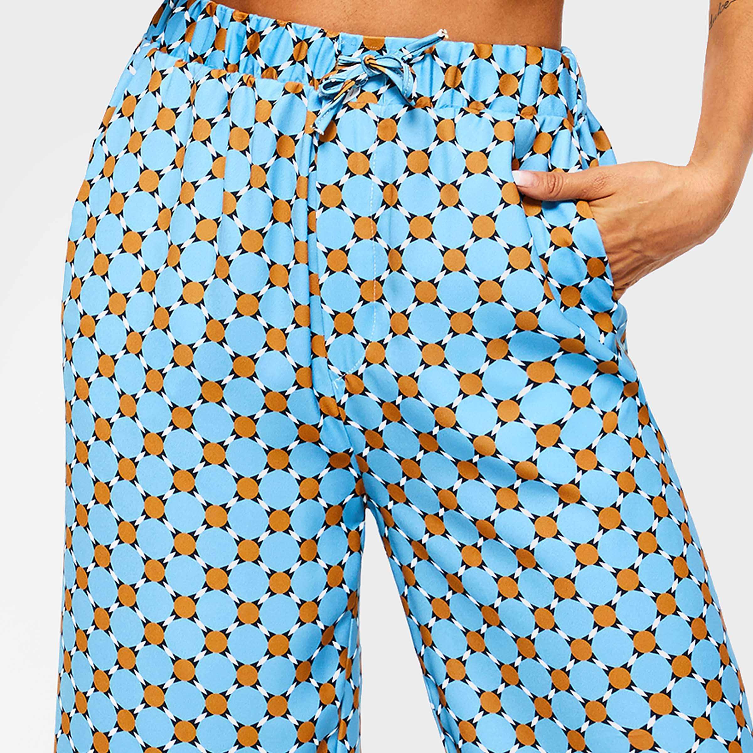 Wijde Pijpen Broek Vrouwen Lente Mode Print Straat Reizen Casual Broek Elegante Elastische Lace Up Losse Hoge Taille Broek Vrouwelijke