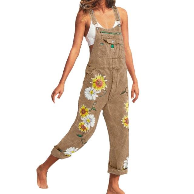 2020 été nouvelles femmes décontracté bavoir salopette globale tournesol imprimé poches Denim ample salopette combishort pantalon salopette
