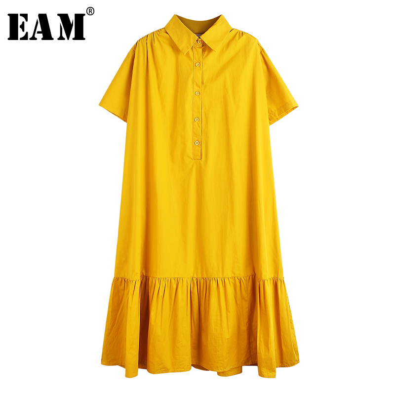 [EAM] Women Yellow Pleated Split Big Size Shirt Dress New Lapel Short Sleeve Loose Fit Fashion Tide Spring Summer 2020 1T514