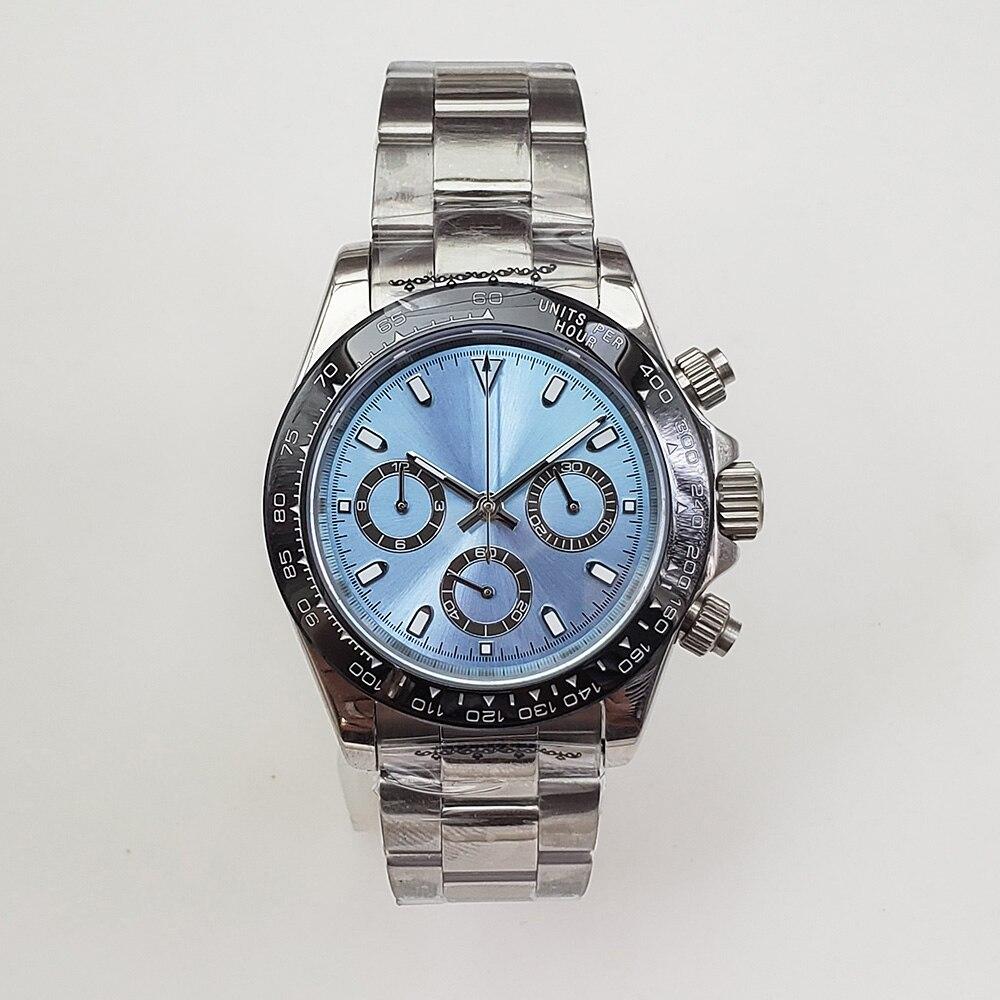 Chronograph Quartz Watch 39mm Sapphire Glass Silver Case 316L Stainless Steel Bracelet Quartz Watch  A9