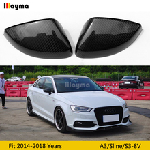цена на Carbon fiber Mirror cover For Audi A3 8V 2014 2015 2016 2017 2018 year New A3 Sline S3 Car rear mirror cap (replace)