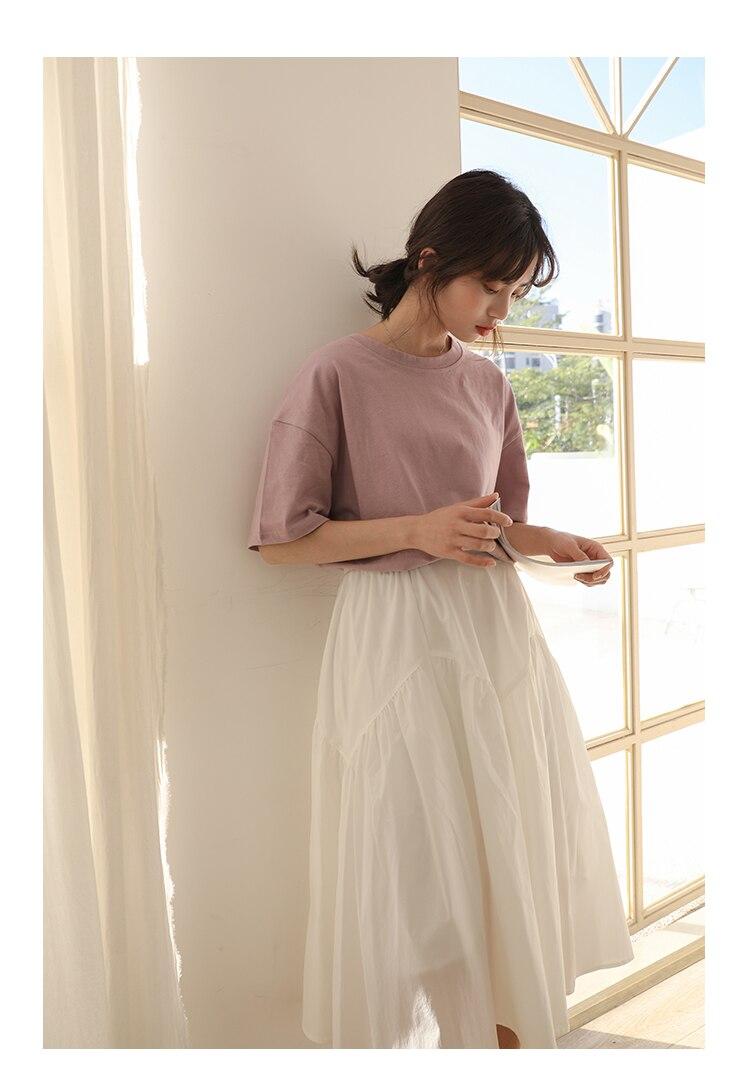 H30f1ed13ccf743cd8ff6f952083852beD - Summer O-Neck Short Sleeves Minimalist Loose Basic T-Shirt