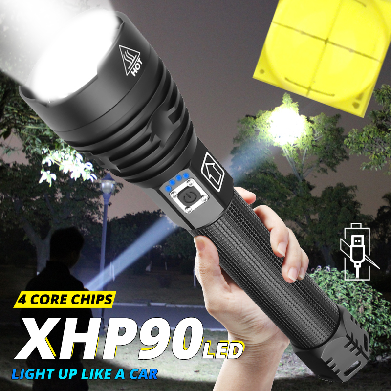 Most Powerful XHP90 New Arrival Led Flashlight Usb Zoom 18650 26650 USB Rechargeable Battery VS XHP70/P50 Camping Torch