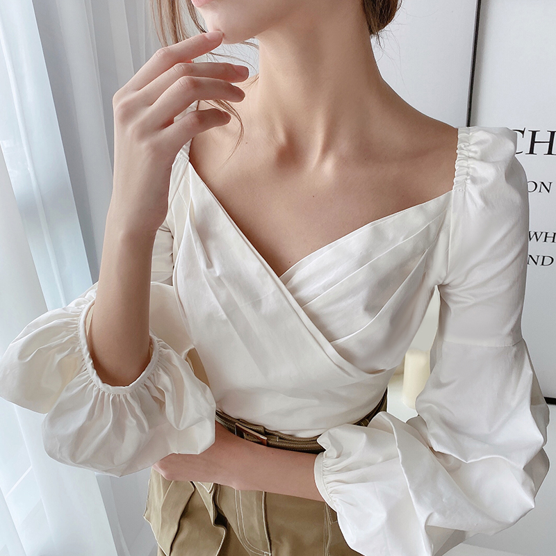 Dabuwawa Vintage Elegant Cross Wrap Shoulder Solid Shirts Women Lanter Sleeve Sexy Blouses Tops Office Lady Female DT1AST003