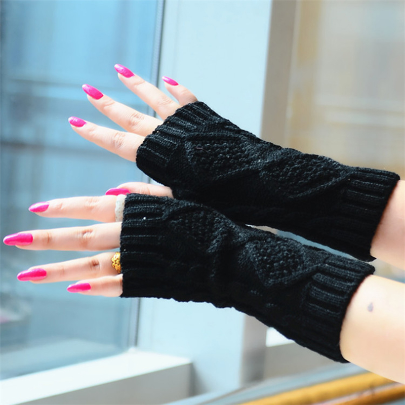 1 Pair Winter Gloves Women Knitted Fingerless Ladies Gloves Fashion Arm Warmer Mittens Women Glove Winter Warm Wrist With Wool