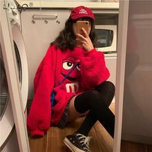 여성 패션 까마귀 풀오버 코트 따뜻한 양털 모피 Streetwear 코트 플러시 탑스 루스 코트 여성 캐주얼 가을 코트 겉옷