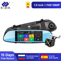 E ACE Android 3G GPS Navigators 7 Inch Car Dvr 1080P Video Recorder Rearview Mirror DVRs With WiFi Buletooth Android ADAS