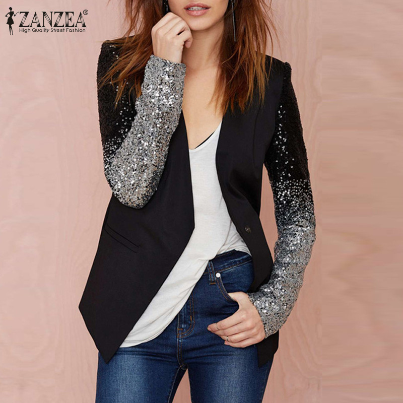 Plus Size ZANZEA 2019 Women Thin Jackets And Coats Long Sleeve Lapel Coat Patchwork Bling Silver Black Sequin Work Blazers Suit