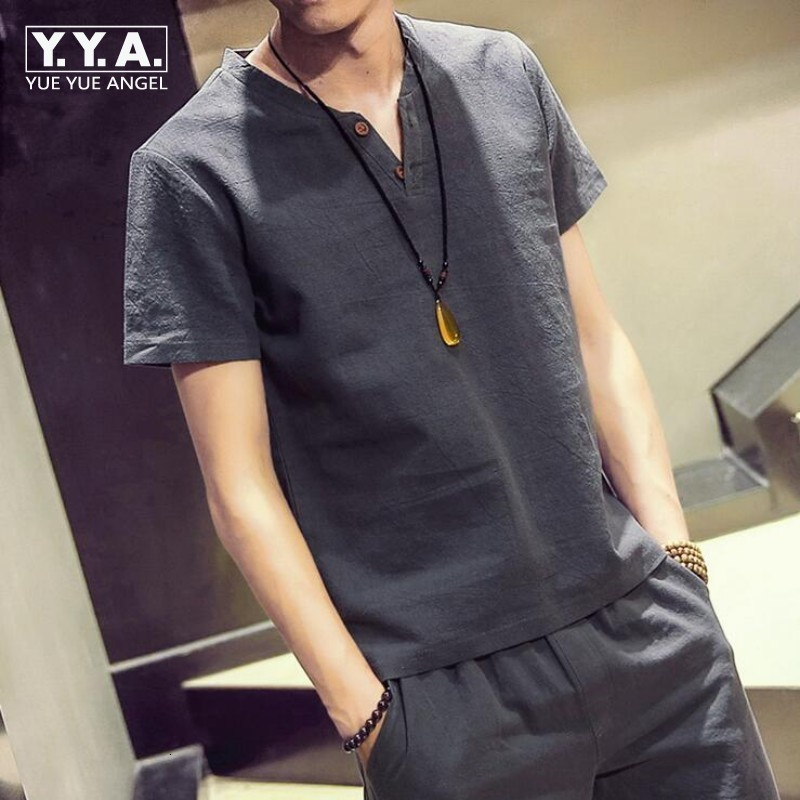 2020 Solid  Button T-Shirt Mens Cotton Linen Sets Breathable Casual  M-5XL Shorts For Men Clothing Suit Set Male Fashion Suit