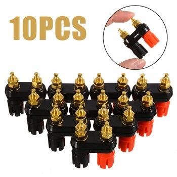цена на 10Pcs Terminal Binding Post Red Black Connector Amplifier Dual 2-way Banana Speaker Binding Post Plug Jack 24k Gold plated