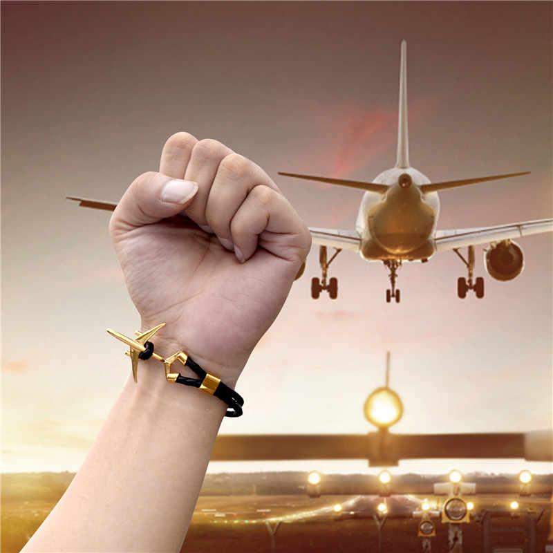 MKENDN ホット販売ステンレス鋼飛行機アンカーブレスレットメンズレディース本多層レザーブレスレットフリースタイルオムジュエリー