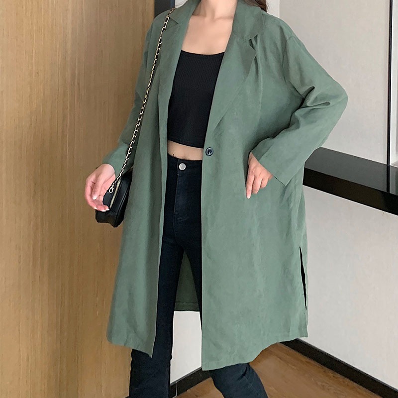 Coats And Jackets Women Plus Size 2020 Spring Three Quarter Turn-down Collar Long Single Button Long Coat