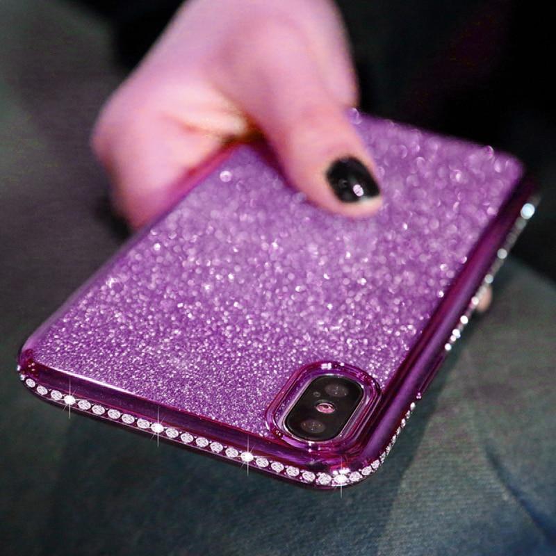 Shiny Bling Diamond Glitter Phone Protective Shell Back Cover for Samsung Models 3