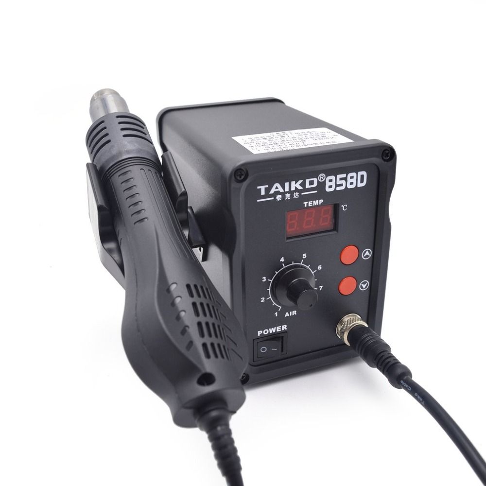220V 450 ワット 858D はんだステーション LED デジタルはんだアイアンはんだ除去 BGA リワークステーション温度調節可能なホットエアガン -
