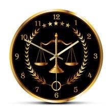 Horloge murale moderne sans tic-tac, décor de bureau pour avocat, entreprise d'art