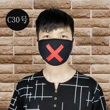 Print X Unisex Gezichtsmasker Leuke Anime Mond Masker Katoen Stof Anti Stof Vervuiling Maskers Voor Man Vrouw Warm Houden mond Gezichtsmasker