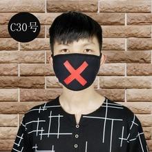 הדפסת X יוניסקס פנים מסכת חמוד אנימה פה מסכת כותנה בד אנטי אבק זיהום מסכות לגבר אישה להתחמם פה פנים
