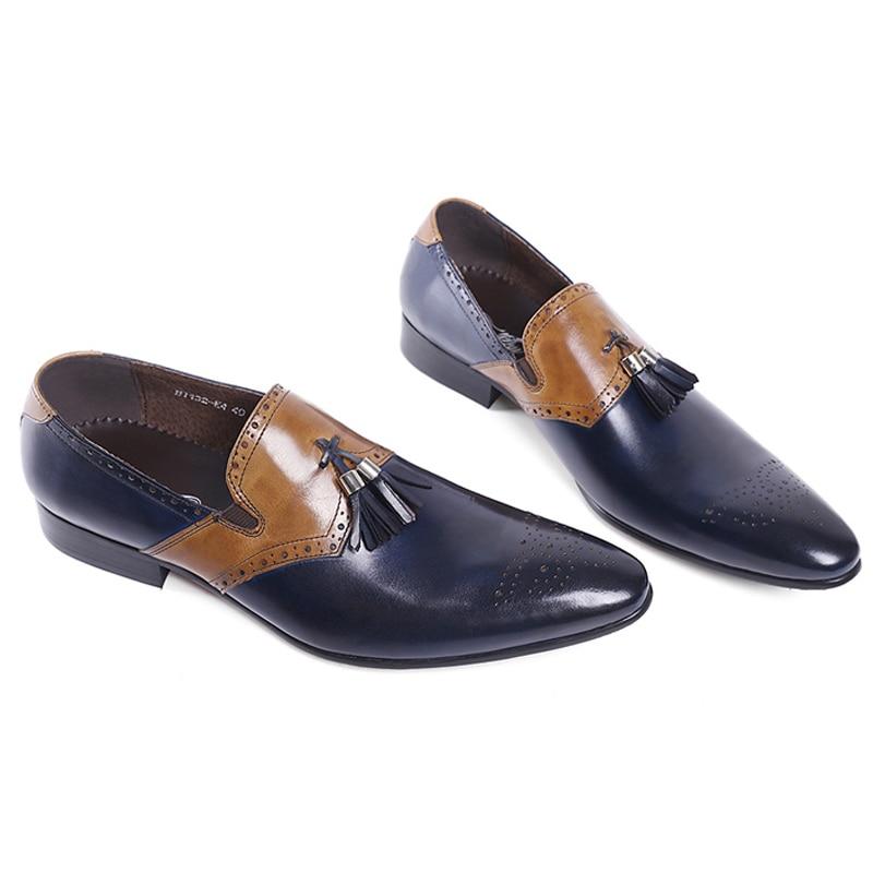 FELIX CHU ฤดูใบไม้ร่วงใหม่หนังผู้ชายอย่างเป็นทางการรองเท้าพู่ Pointed Toe งานแต่งงานสีฟ้ารองเท้าผู้ชายแบน-ใน รองเท้าทางการ จาก รองเท้า บน   2