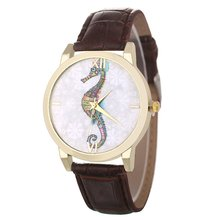Cute Seahorse Dial Classic Luxury Fashion Leather Strap Cheap Women Quartz