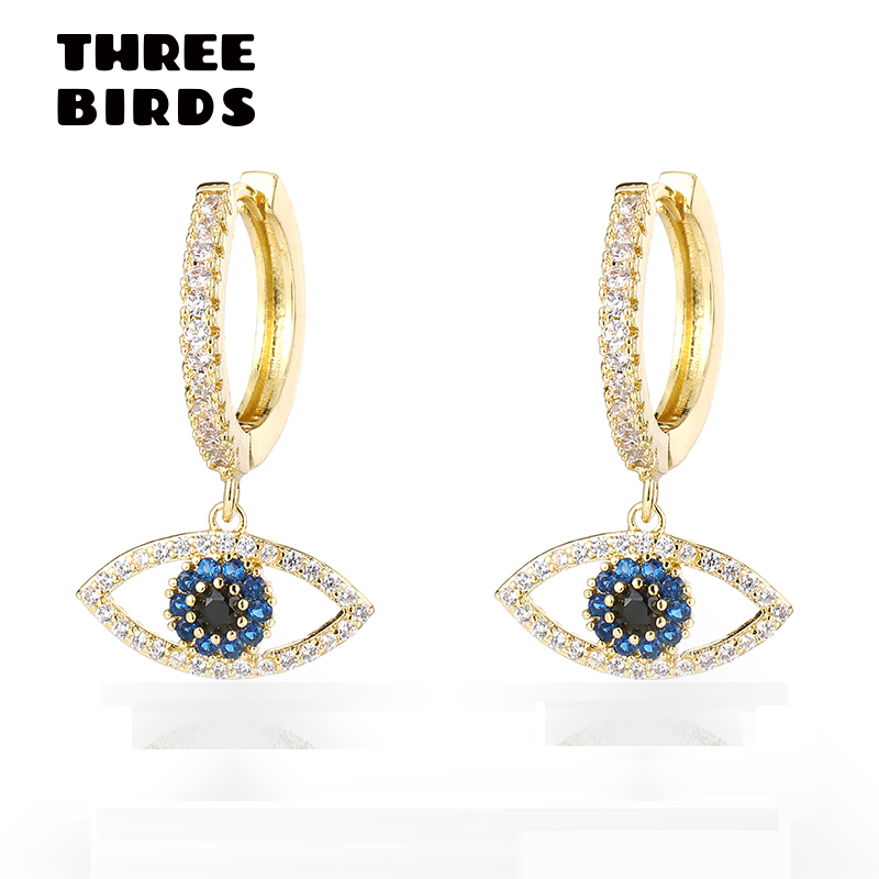 Trendy Cubic Zircon Evil Eye Hoop Earrings Blue Crystal Circle Round Earrings For Women Jewelry Boucle D'oreille Femme 2019
