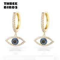 Trendy Cubic Zircon Evil Eye hoop Earrings Blue crystal circle round Earrings For Women Jewelry boucle d'oreille femme 2019