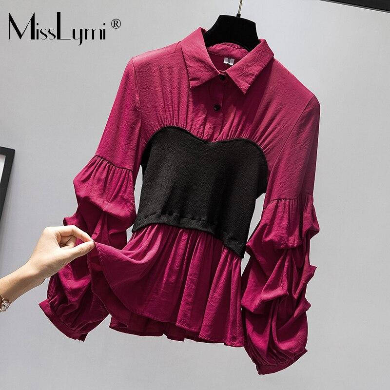L-4XL grande taille Femmes Vintage Blouses Automne 2019 Mode Tricoté tops tuniques Patchwork Lanterne À Manches Longues Chemises À Volants