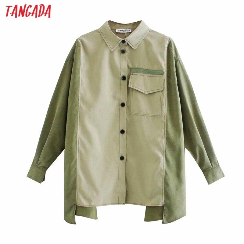 Tangada mujer oversize color verde bloque camisa Blusa de manga larga Mujer chic casual Camisa suelta blusas femininas 6P1