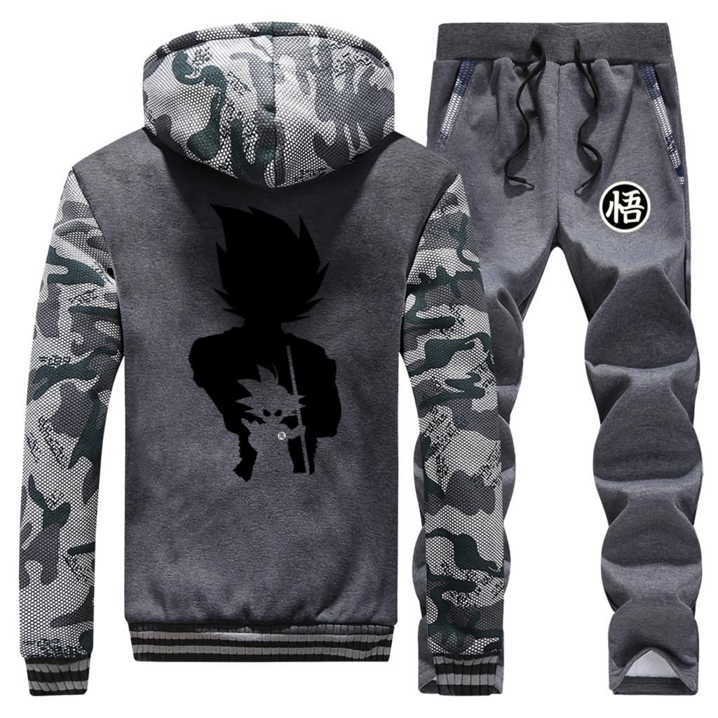DragonBall Z Camouflage Sweatshirt+Pants 2Piece Sets Fashion Brand Hoodies Mens Dragon Ball Winter Japanese Streetwear Tracksuit