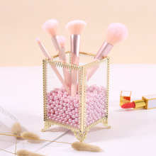 New gold Nordic style storage box makeup pen holder brush barrel home desktop decoration tube 9*9*14cm