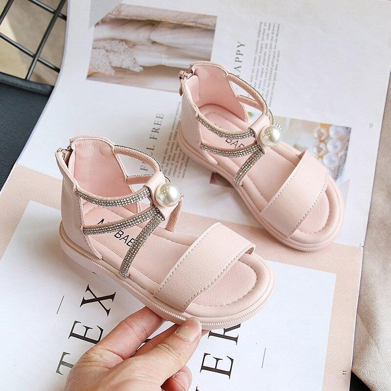 ULKNN Girls Sandals New Fashion Pearl Cuffed Pink Crystal Princess Shoes Kids Soft Hollow Open-toe Flats Gladiator Sandalies PU