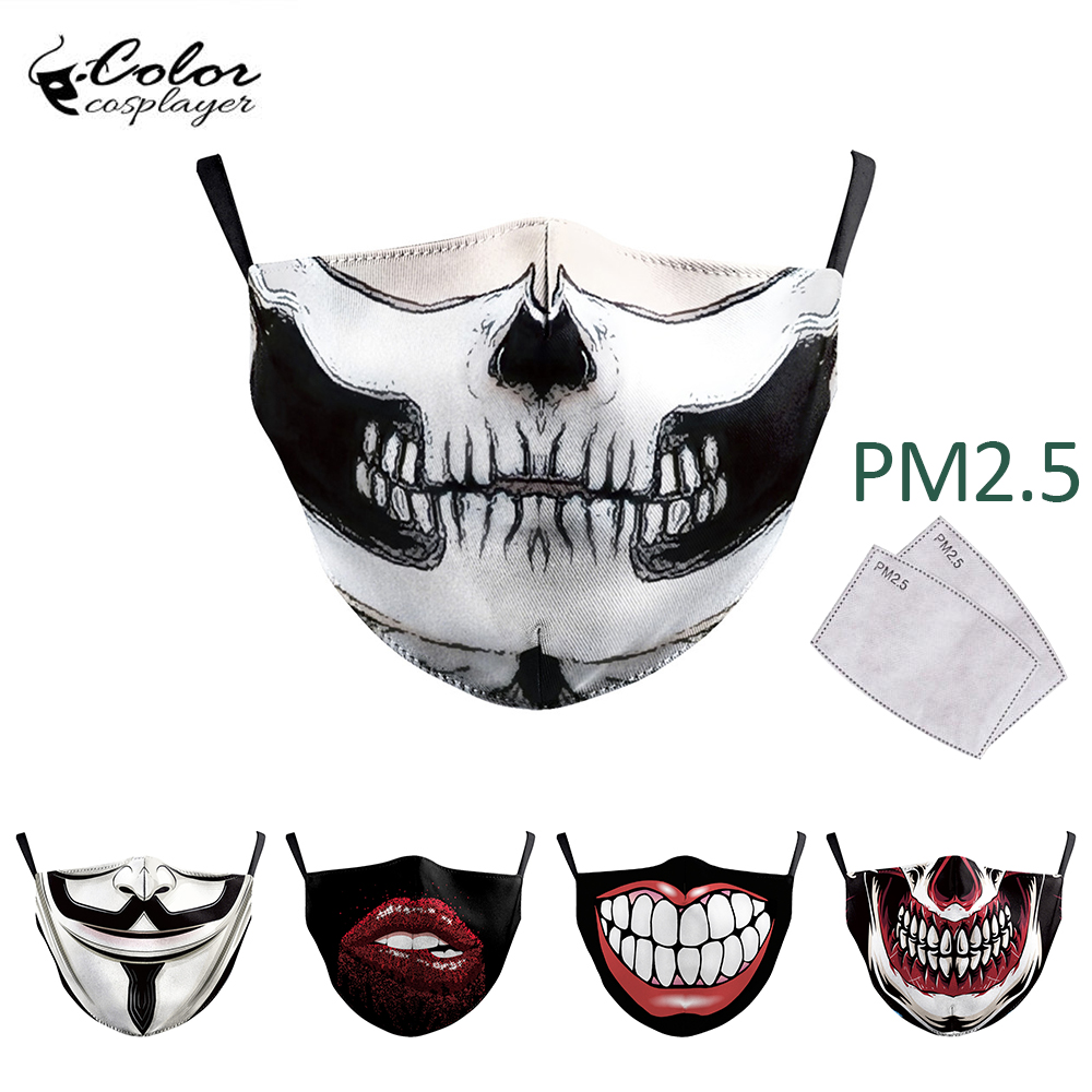 Color Cosplayer Big Mouth Series Skull Face Mask Printing Fabric Mask Protective PM 2.5 Mouth-Muffle Dust Washable Reusable Mask