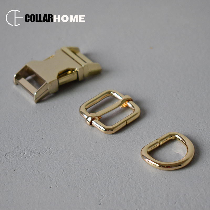 10 sets metal belt buckle 3 4 quot d rings 20mm webbing for bag dog pet collar DIY accessories adjustment buckle connect button gold in Buckles amp Hooks from Home amp Garden