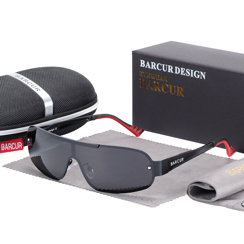 Polarized Pilot Sunglasses Red Grey