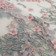 예쁜 프랑스 그물 레이스 패브릭 JIANXI.C 586811 3d 꽃 수 놓은 frech 그물 레이스 원단 패션 드레스