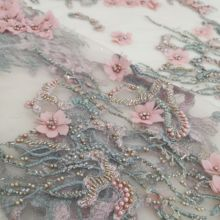 pretty french net lace fabric JIANXI.C 586811 with 3d flower embroidered frech net lace fabric for fashion dress