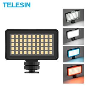 Image 1 - TELESIN Vlog remplir lumière LED chaussure froide Mini vidéo lumière couleur filtre Portable éclairage photographique pour Smartphone DSLR reflex lampe