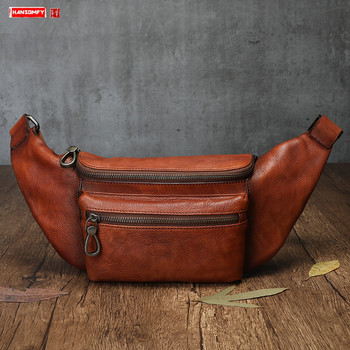 New Leather belt bag men's waist bag 2020 business Cowhide leather chest bag large capacity men multifunctional chest bags
