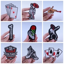 Zipper Diamond Patches For Clothing Skull Rose Iron On Jacket Hippie Patch Clothes Appliqued Stripes