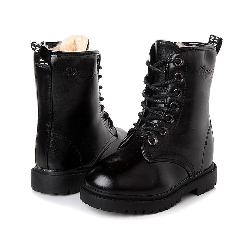 Botas de inverno para meninas sapatos de couro cor sólida crianças martin botas mais velve teenger meninos botas de neve preto tamanho 27-39 sc207