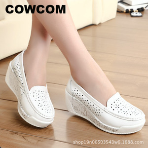 Image 1 - COWCOM Drop Sale Spring Thick soled Platform Shoes Womens Casual Slope Hollow Round Head Bottom Womens Shoes Summer