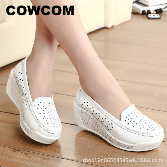 COWCOM Drop Sale Spring Thick soled Platform Shoes Womens Casual Slope Hollow Round Head Bottom Womens Shoes Summer